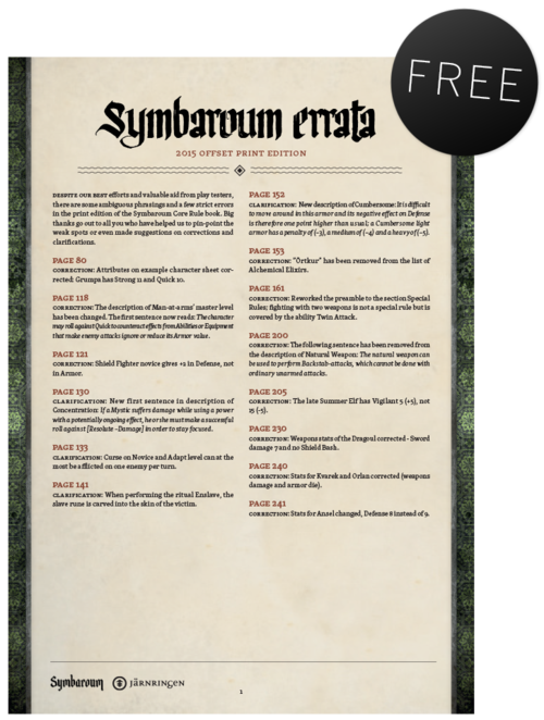 Symbaroum - English Errata